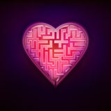 Projeto vermelho cor-de-rosa do labirinto como o gráfico moderno do símbolo do amor e do coração Imagens de Stock