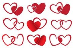 Projeto vermelho do vetor dos corações para o tema do amor Imagem de Stock