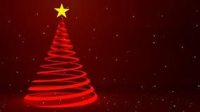 Projeto vermelho moderno da árvore de Natal da fita e neve de queda, animação 3D