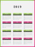 Projeto vertical do calendário de 2019 anos Fotografia de Stock Royalty Free