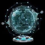 Projetor do holograma da rede do globo com rendição digital da conexão 3D ilustração do vetor