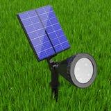 Projetor exterior do diodo emissor de luz do jardim com painel solar rendição 3d Imagem de Stock