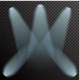 Projetores de incandescência do néon branco realístico sobre Imagens de Stock