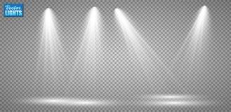 Projetores do vetor cena Efeitos da luz fotos de stock