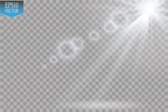 Projetores do vetor cena Efeitos da luz Efeito da luz especial do alargamento da lente da luz solar transparente do vetor Flash d Imagem de Stock Royalty Free