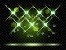 Projetores do vetor Iluminação da cena Luz transparente ilustração royalty free