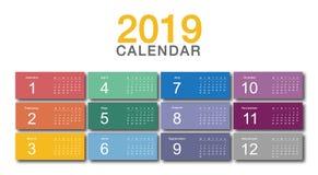 Projetos colorido do molde do projeto do vetor do ano civil 2019, os simples e os limpos fotos de stock