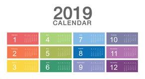 Projetos colorido do molde do projeto do vetor do ano civil 2019, os simples e os limpos fotografia de stock