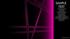 projetos da capa do livro, compartimentos, folhetos, etc. com a linha cor-de-rosa conceito e fundo preto e exemplos da escrita ao ilustração do vetor
