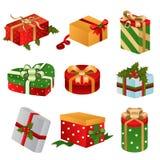 Projetos diferentes de caixas do presente de Natal Fotos de Stock Royalty Free