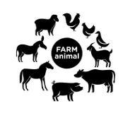 Projetos do ícone do logotipo da exploração agrícola animal ilustração stock