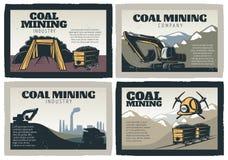 Projetos do extração de carvão ajustados ilustração do vetor