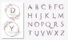 projetos do logotipo do casamento com motivos florais ilustração stock