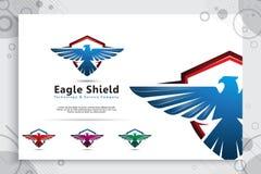 Projetos do logotipo do vetor do protetor de Eagle com estilo moderno para a empresa da tecnologia, ilustração do protetor do pás imagem de stock