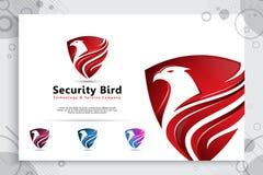 Projetos do logotipo do vetor do protetor de Eagle com estilo moderno para a empresa da tecnologia, ilustração do protetor do pás fotografia de stock royalty free