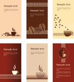 Projetos do molde do cartão para a cafetaria Fotografia de Stock