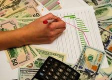 Projetos do negócio, dólares para o fundo Imagens de Stock Royalty Free
