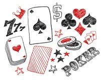 Projetos do póquer desenhado da mão Fotos de Stock Royalty Free