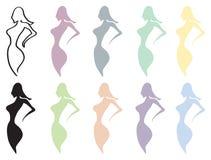 Projetos do vetor da forma do corpo fêmea isolados no branco Fotos de Stock Royalty Free