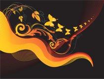 Projetos florais com butterflie ilustração do vetor