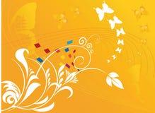 Projetos florais com butterflie ilustração stock