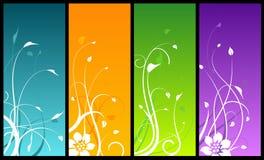 Projetos florais em fundos coloridos ilustração stock
