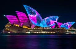 Projetos novos maravilhosos no teatro da ópera em Sydney vívido Imagens de Stock Royalty Free