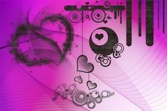 Projetos retros e corações Imagens de Stock Royalty Free