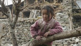 PROK, NEPAL - EM MARÇO DE 2018: Retrato da menina local na vila nepalesa vídeos de arquivo