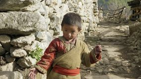 PROK, NEPAL - MAART, 2018: Portret van de lokale jongen in Nepalees dorp stock footage