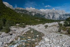 Prokletije widok górski od Theth, Albańscy Alps, Północny Albania obraz stock