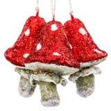 Prolifera rápidamente la amanita, decoración del vintage para el árbol de navidad, isolat Imagen de archivo