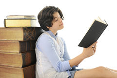 Prolific Teen Reader Stock Photography