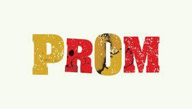 Prom Concept Colorful Stamped Word Illustration. The word PROM concept printed in letterpress hand stamped colorful grunge paint and ink. Vector EPS 10 available Royalty Free Stock Photography