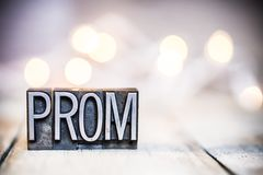 Prom Concept Vintage Letterpress Type Theme royalty free stock photo