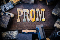 Prom Concept Wood and Rusted Metal Letters Royalty Free Stock Photography