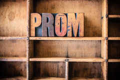 Prom Concept Wooden Letterpress Theme Royalty Free Stock Photos