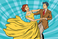 Prom, couple girl and boy dance. Pop art retro vector illustration. Waltz and music royalty free illustration