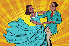 Prom, couple girl and boy dance. Pop art retro vector illustration. Waltz and music. African American people Stock Photography