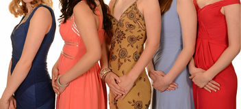 Prom dresses. Women with various prom dresses stock photos