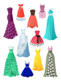 Prom dresses. Set of prom dresses  on white background Stock Images