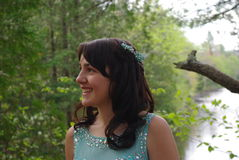 Prom. Image of a girl in her prom dress by a pond Stock Photography
