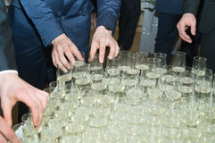 At the prom party. Boleslawiec, Poland, February 11 2017,men in smart clothes take a glass of champaigne  during the prom party in a high school in Boleslawiec Stock Photography