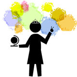 Prom Queen - World Peace 1. Black graphic female figure holding a small globe with one hand and flashing a peace sign with the other Royalty Free Stock Photos
