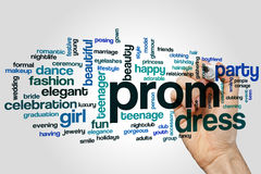 Prom word cloud. Concept on grey background stock image