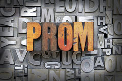 Prom. Written in vintage letterpress type Stock Image