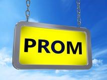 Prom on billboard. Prom on yellow light box billboard on blue sky background Stock Image