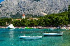 Promajna beach, Croatia. Beach in the resort town of Promajna, Makarska Riviera, Croatia royalty free stock photography
