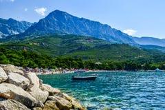Promajna beach, Croatia. Beach in the resort town of Promajna, Makarska Riviera, Croatia stock images