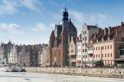 Promenad över den Motlawa floden i Gdansk Fotografering för Bildbyråer